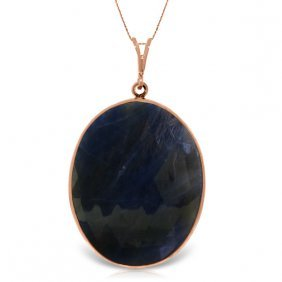 Genuine 20 Ctw Sapphire Necklace Jewelry 14kt Rose Gold