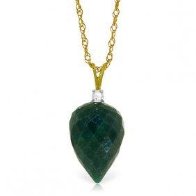 Genuine 12.95 Ctw Green Sapphire Corundum & Diamond