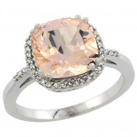 Natural 2.81 Ctw Morganite & Diamond Engagement Ring