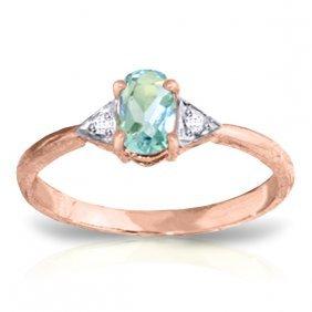 Genuine 0.46 Ctw Aquamarine & Diamond Ring Jewelry 14kt