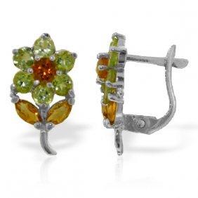 Genuine 2.12 Ctw Citrine & Peridot Earrings Jewelry