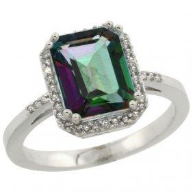 Natural 2.63 Ctw Mystic-topaz & Diamond Engagement Ring
