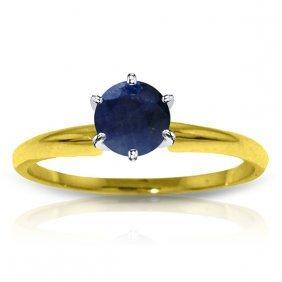 Genuine 0.65 Ctw Sapphire Ring Jewelry 14kt Yellow Gold