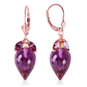 Genuine 20 Ctw Amethyst Earrings Jewelry 14kt Rose Gold