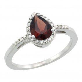 Natural 1.53 Ctw Garnet & Diamond Engagement Ring 14k