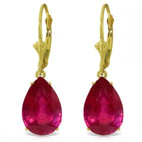 Genuine 10 Ctw Ruby Earrings Jewelry 14kt Yellow Gold -