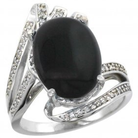 Natural 3.5 Ctw Onyx & Diamond Engagement Ring 14k