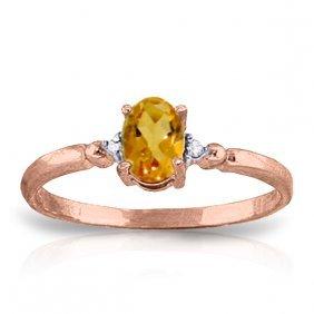 Genuine 0.46 Ctw Citrine & Diamond Ring Jewelry 14kt