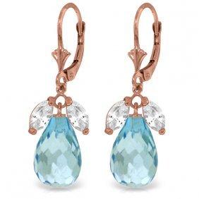 Genuine 14.4 Ctw White Topaz & Blue Topaz Earrings