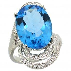 Natural 11.2 Ctw Swiss-blue-topaz & Diamond Engagement
