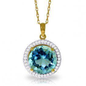 Genuine 8 Ctw Blue Topaz & Diamond Necklace Jewelry