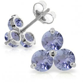 Genuine 1.5 Ctw Tanzanite Earrings Jewelry 14kt White
