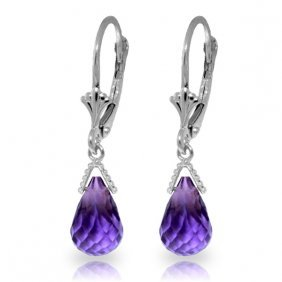 Genuine 4.5 Ctw Amethyst Earrings Jewelry 14kt White