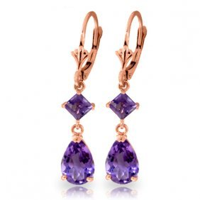 Genuine 4.5 Ctw Amethyst Earrings Jewelry 14kt Rose