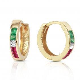 Genuine 1.28 Ctw Emerald, White Topaz & Ruby Earrings
