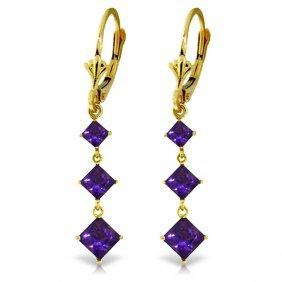 Genuine 4.79 Ctw Amethyst Earrings Jewelry 14kt Yellow