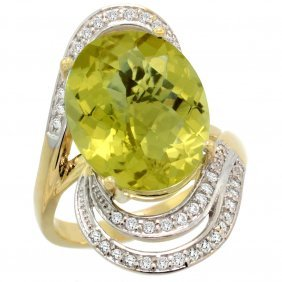 Natural 11.2 Ctw Lemon-quartz & Diamond Engagement Ring