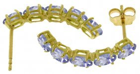 Genuine 2.5 Ctw Tanzanite Earrings Jewelry 14kt White