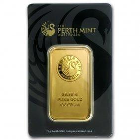 One Pc. 100 Gram .9999 Fine Gold Bar - Perth Mint In