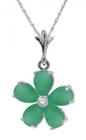 Genuine 2.22 Ctw Emerald & Diamond Necklace Jewelry