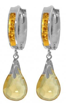 Genuine 6.85 Ctw Citrine Earrings Jewelry 14kt White