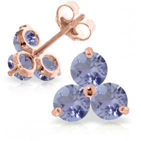 Genuine 1.5 Ctw Tanzanite Earrings Jewelry 14kt Rose