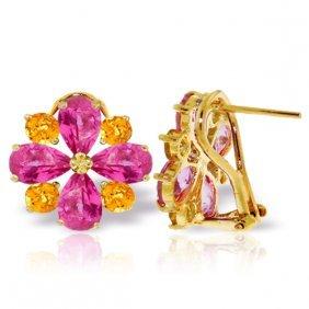 Genuine 4.85 Ctw Pink Topaz & Citrine Earrings Jewelry