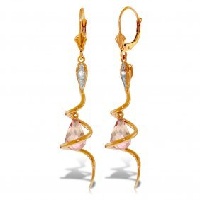 Genuine 4.56 Ctw Pink Topaz & Diamond Earrings Jewelry