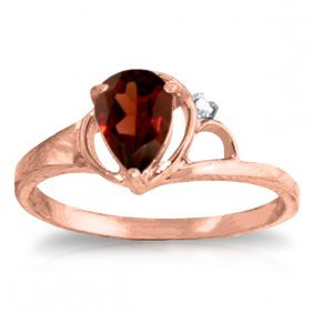Genuine 0.66 Ctw Garnet & Diamond Ring Jewelry 14kt