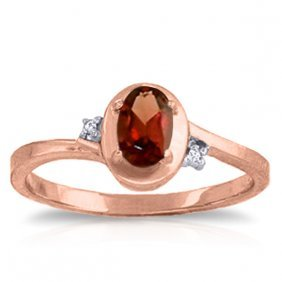 Genuine 0.51 Ctw Garnet & Diamond Ring Jewelry 14kt