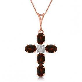 Genuine 1.88 Ctw Garnet & Diamond Necklace Jewelry 14kt