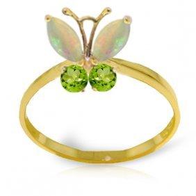 Genuine 0.7 Ctw Opal & Peridot Ring Jewelry 14kt Yellow