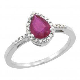 Natural 0.83 Ctw Ruby & Diamond Engagement Ring 10k
