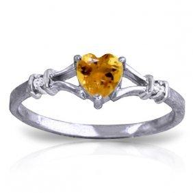 Genuine 0.47 Ctw Citrine & Diamond Ring Jewelry 14kt