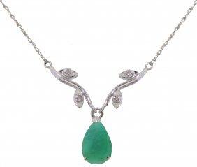 Genuine 1.02 Ctw Emerald & Diamond Necklace Jewelry