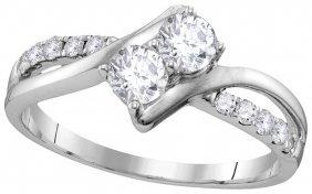 0.75 Ctw Diamond Bridal Ring 10kt White Gold -