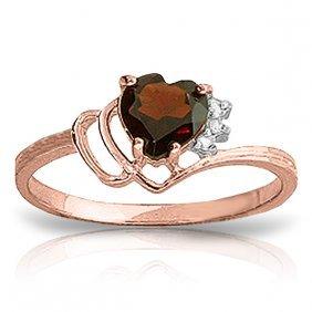 Genuine 0.97 Ctw Garnet & Diamond Ring Jewelry 14kt