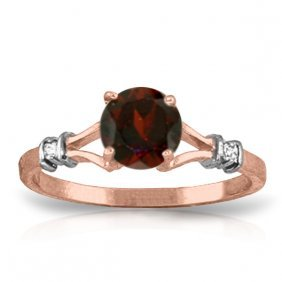 Genuine 1.07 Ctw Garnet & Diamond Ring Jewelry 14kt