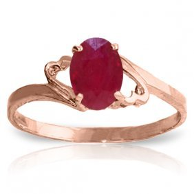 Genuine 1.15 Ctw Ruby Ring Jewelry 14kt Rose Gold -