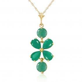 Genuine 3.15 Ctw Emerald Necklace Jewelry 14kt Yellow