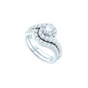2.01 Ctw Diamond Bridal Set Ring 14kt White Gold -