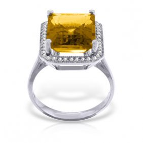 Genuine 5.8 Ctw Citrine & Diamond Ring Jewelry 14kt