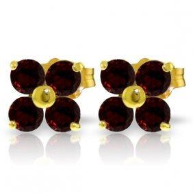 Genuine 1.15 Ctw Garnet Earrings Jewelry 14kt Yellow