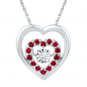 0.55 Ctw Ruby & Diamond Pendant 10kt White Gold -