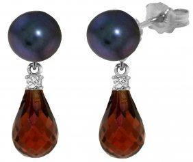 Genuine 6.6 Ctw Black Pearl, Garnet & Diamond Earrings