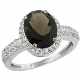 Natural 2.56 Ctw Smoky-topaz & Diamond Engagement Ring