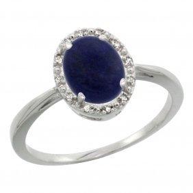 Natural 1.05 Ctw Lapis & Diamond Engagement Ring 10k
