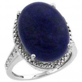 Natural 9.49 Ctw Lapis & Diamond Engagement Ring 10k