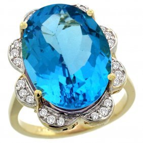 Natural 13.83 Ctw Swiss-blue-topaz & Diamond Engagement