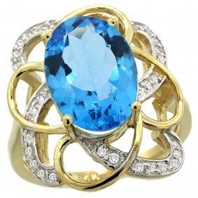 Natural 5.59 Ctw Swiss-blue-topaz & Diamond Engagement